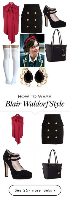 """""""Untitled #434"""" by avalonmalfoy on Polyvore featuring Balmain, Kate Spade, Carolina Herrera, Michael Kors and Bounkit"""