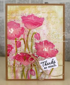 gorgeous handmade card by Mama Dinis Stamperia: Precious Poppies  ... acrylic base ... stamped poppies ... acrylic painted on top of stamping ... luv the look of an original painting ...