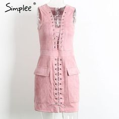 Simplee Sexy lace up suede leather dress Winter hollow out high waist sleeveless women dress Vintage party club mini dress