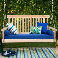 Porch Swing Natural Wood Garden Swing Bench Patio Hanging Seat Chains 4 FT -- Nice of you to have dropped by to view the photo. (This is our affiliate link) Porch Swing Cushions, Wicker Porch Swing, Porch Chairs, Porch Swings, Canopy Swing, Patio Canopy, Canopy Outdoor, Garden Swing Seat, Patio Swing