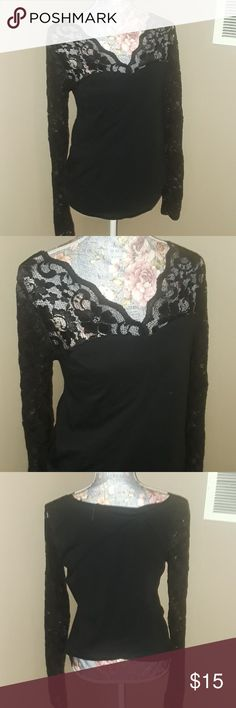 PattyBoutik Black Lace Long Sleeve XL Black lace sleeves Xl PattyBoutik brand PattyBoutik Tops