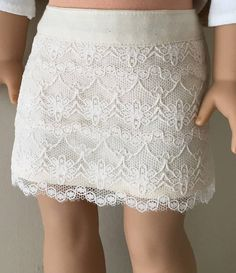 Fits American Girl doll: lace skirt and off-the-shoulder tee
