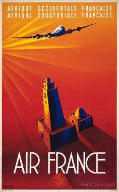 Originally printed as a colored lithograph around 1940, this reproduction Air France to Africa Print was designed by artist Edmond Maurus and published by Franch: Goossens Publicité. In the light of a setting sun an airplane flies over a stylized mosque in this triumphant advertisement for Air France's service to Africa.