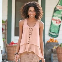 LEATHER LACE UP SILK BLOUSE
