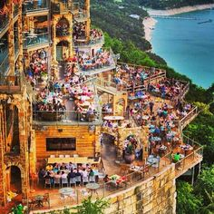 The Oasis – Lake Travis, Austin, TX. What a view! The Oasis is a popular restaurant perched on a bluff 450 feet above Lake Travis in Austin, TX. Too bad there's not much water in Lake Travis! Vacation Destinations, Dream Vacations, Vacation Spots, Vacation Ideas, Vacation Places, Holiday Destinations, Texas Travel, Travel Usa, The Oasis Lake Travis