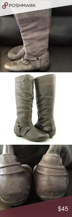 BORN Cecilia Grigio Distressed  Mid Calf Boots Women's BORN Cecilia Grigio Distressed Leather Side Zip Mid Calf Tall Boots 8. Good used condition. Distressed as noted in pictures. Lots of wear left in them. Super comfy and versatile Born Shoes Heeled Boots