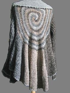 pattern by Svetlana Pushkina Swirl by Kristin Omdahl, free crochet pattern. Try a bit of free form crochet in this interesting sweater.Swirl by Kristin Omdahl, free crochet pattern. Try a bit of free form crochet in this interesting sweater. Crochet Coat, Crochet Shirt, Crochet Jacket, Crochet Cardigan, Crochet Scarves, Crochet Clothes, Crochet Sweaters, Lace Cardigan, Wrap Sweater