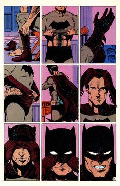 Batman suiting up