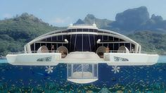 Italian industrial designer Michele Puzzolante designed this conceptual floating luxury hotel suite powered by solar cells. The Solar Floating Resort is a Resorts, Floating Hotel, Floating Island, The Next Big Thing, Summer Dream, Hotel Suites, Island Resort, Jacuzzi, Solar Power