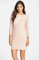 Adrianna Papell Long Sleeve Lace Sheath Dress (Regular & Petite)