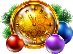 Transparent Golden Christmas Clock with Decoration PNG Clipart