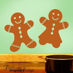 Gingerbread Man Cookies Vinyl Wall Decals, Kitchen Holiday Decorations for Thanksgiving and Christmas