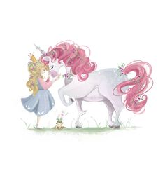 Princess petting Unicorn // Little Girl Room // by LittleBurrows, $10.00