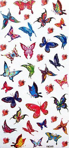 """Tattoo size 7.28""""x3.54"""" non-toxic and waterproof colorful realistic temporary tattoo stickers insects small butterflies for kids. Safe and non-toxic design ideal for body art. Professional grade made to last 3 to 5 days and easily transferred by water. Perfect for vacations, girls night, pool parties, bachelorette parties, or any other event you want to look glamorous."""