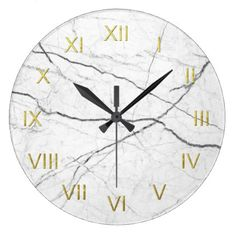 White Marble Depiction Wall Clock Gold Numerals - marble gifts style stylish nature unique personalize