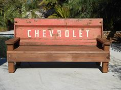 Old vintage rustic custom made Chevrolet/Chevy tailgate wood bench.  great for house, garage, bar, or yard. on Etsy, $650.00