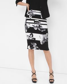 White House | Black Market Mixed Floral Pencil Skirt  #whbm
