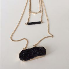 Black druzy necklace Black druzy necklace  Adjustable clasp closure. I will update the chain length ASAP!  NWT. Brand new with tags. Comes with earrings (see photos).  Availability- 3 PLEASE do not purchase this listing. Price is firm unless bundled. No tradesJ5 Boutique Jewelry Necklaces