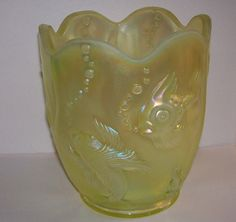 Vintage Fenton Yellow Opalescent Atlantis Fish Vase Jard Goldfish Koi Iridescent Satin Glass Collectible. 1995. Signed with the oval Fenton logo imprinted on the base and silver foil label reading: Fenton Handmade in U.S.A. This is a large and heavy vase or jardiniere with