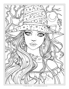 free witch coloring page halloween coloring pages by molly harrison fantasy art