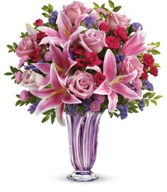 Celebrate Valentine's Day with flowers from Mancuso's Florist located in Metro Detroit Michigan! Pink & Purple Flowers