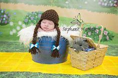 Wizard of OZ Dorothy Crochet hat Newborn & by KnitsNKnotsByFrances