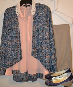 A cute crochet collar pink blouse under a blue, pink and tan print blazer with tan slack and eggplant flats.