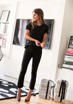 Morgane Bedel // effortless hair, black tee, lace up suede pants & leopard heels #style #fashion #parisian #french #garancedore