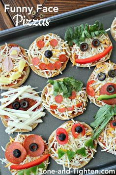 Funny Face Pizzas on Tone-and-Tighten.com - a fun way to get your kids involved in making dinner and to help them eat their vegetables!
