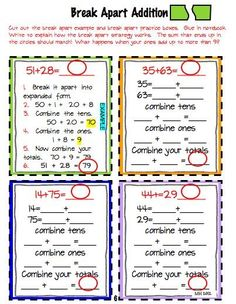 Break apart addition strategies...Part of a math addition/subtraction interactive notebook project $