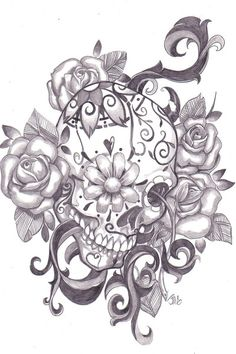 Sugar Skull Tattoo Idea. love the alternate perspective. would choose a different flower than roses for the background