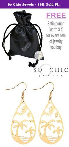 So Chic Jewels - 18K Gold Plated Palm Tree Drop Shape Dangle Hook Earrings. 18K Gold Plated (Hallmark), Dimensions: 55 x 20 mm, Nickel Free.