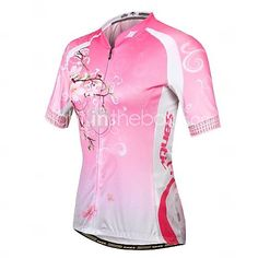 SANTIC Women's Short Sleeve Polyester+Spandex Breathable Cycling Suit - Pink - GBP £ 41.39