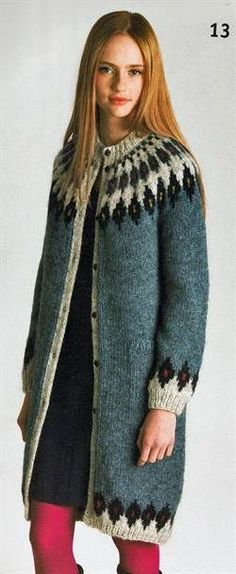 2813 Jakke i 6 farger str S - XL, L-XL, Grå (Produktdetaljer) [G. Moda Lolita, Icelandic Sweaters, Nordic Sweater, Creative Knitting, Fair Isle Knitting, Christmas Knitting, Knit Jacket, Sweater Coats, Knitting Designs