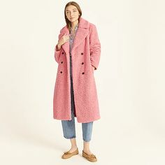 J.Crew: Double-breasted Teddy Sherpa Topcoat For Women Topcoat, Faux Fur Jacket, Autumn Winter Fashion, Double Breasted, J Crew, Winter Coats, Jackets, Clothes, Shopping