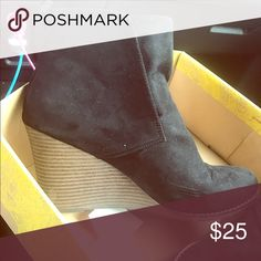Black booties From target, only worn once. Black suede with brown wedge. Shoes Ankle Boots & Booties