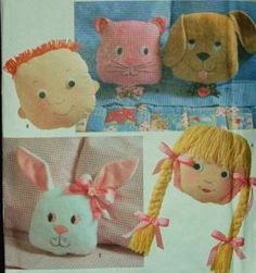 """Simplicity 7871 Retro Sewing Pattern Cat, Dog, Bunny, Boy and Girl Pillow or Pajama Bag 11""""11"""" by Simplicity Co,http://www.amazon.com/dp/B0084UZ1ZC/ref=cm_sw_r_pi_dp_0pmetb0DRP62FR40"""