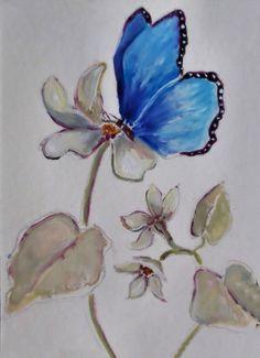 Blue Butterfly Art Print by Diane Ursin