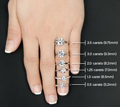 Engagement Ring Carats. Diamond sizes for your ring! #diamondcarats #engagementring #diamondring #carats