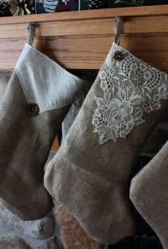 Stocking Burlap and Lace - So Pretty