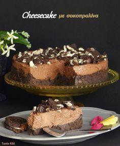 τουρτα τσιζκεικ  μπισκοτα βουτυρο,μερεντα,τυρι κρεμα,μερεντα,γαλα,κουβερτουρα Chocolate Cheesecake, Cheesecakes, Tiramisu, Deserts, Dessert Recipes, Ice Cream, Sweets, Sugar, Baking