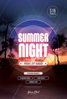 Summer Night Flyer by styleWish (Buy PSD file - $9) #design #poster #graphic