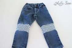 Mended Jeans - How to Patch Jeans - An easier way to mend knees with holes - MellySews.com