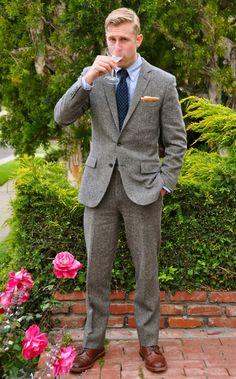 A Rich Inner Life  j.crew donegal tweed suit; Brooks Brothers shirt, Alden boots; Sid Mashburn tie & belt; Ralph Lauren pocket square