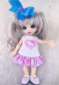 "Pukifee, Lati Yellow, Dress, Hello Kitty dress. 6"" bjd dress, by TheDollsDresser. $14.95, via Etsy."