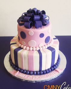Pink+and+Purple+First+Birthday+Cake 400×500 pixels