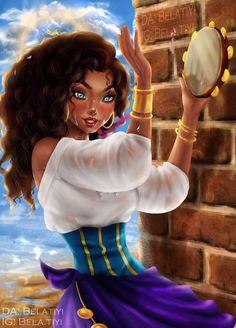 Esméralda [as a black girl] (Drawing by Belatiyi Black Girl Drawing, Black Girl Art, Black Women Art, Art Girl, Black Art, Black Disney Princess, Esmeralda Disney, Alternative Disney Princesses, Disney Renaissance