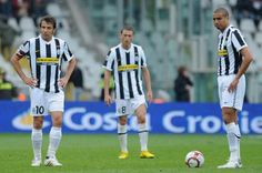 Alessandro Del Piero of Juventus FC and David Trezeguet show their dejection during the Serie A match between Juventus FC and Parma FC at Stadio...