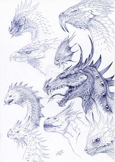 Head Reference Page by MojoLiazon on DeviantArt - Different existing styles of dragons and some originals, reference page. -Dragon Head Reference Page by MojoLiazon on DeviantArt - Different existing styles of dragons and some originals, reference page. Creature Drawings, Animal Drawings, Art Drawings, Fantasy Dragon, Fantasy Art, Dragon Anatomy, Dragon Artwork, Dragon Head Drawing, Dragon Head Tattoo