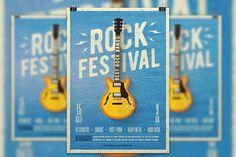 Rock Festival, Live Concert Music Flyer Template.